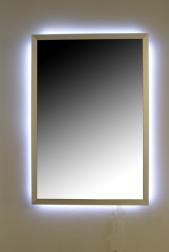 infrarot spiegelheizung mit led beleuchtung edelstahloptik. Black Bedroom Furniture Sets. Home Design Ideas